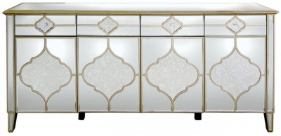 Clearance - Morocco Mirrored Wide Sideboard - New - FS468