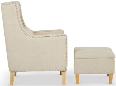 Clearance - Serene Leven Cream Fabric Chair with Footstool - New - FS610