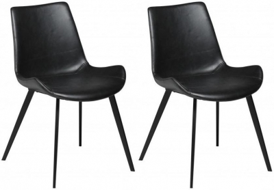 Clearance - Dan Form Hype Vintage Black Faux Leather Dining Chair with Black Legs (Pair) - New - FS784