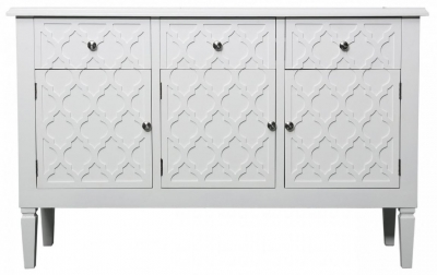 Clearance - Siena Casablanca White Sideboard with Glass Top - New - E-13