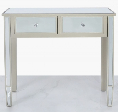 Clearance - Wengen Champagne Trim Mirrored Console Table - New - E-16