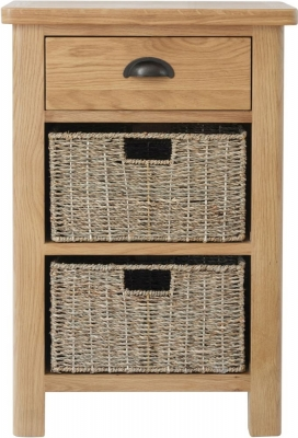 Clearance - Hampton Rustic Oak 1 Drawer 2 Basket Unit - New - E-179