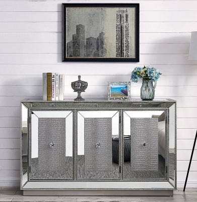 Clearance - Preston Mirrored 3 Door Sideboard - New - E-45