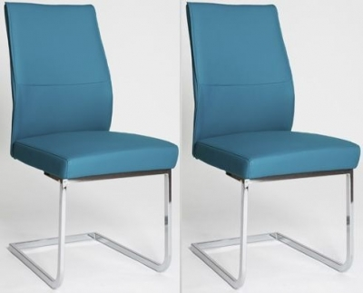 Clearance - Seattle Blue Faux Leather Dining Chair (Pair) - New - E-265