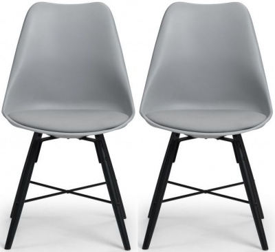 Clearance - Julian Bowen Kari Black and Grey Faux Leather Dining Chair (Pair) - New - E-132