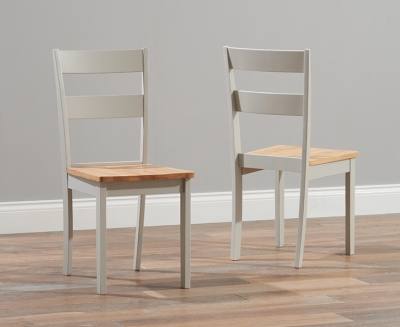Clearance - Mark Harris Chichester Oak and Grey Dining Chairs (Pair) - New - E-203