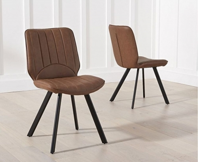 Clearance - Mark Harris Damanti Brown Faux Leather Dining Chair (Pair) - New - E-204