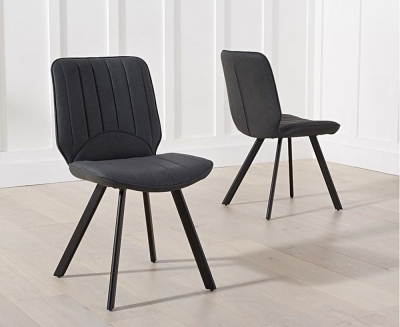 Clearance - Mark Harris Damanti Grey Faux Leather Dining Chair (Pair) - New - E-201