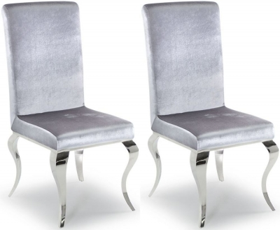 Clearance - Vida Living Louis Silver Fabric Dining Chair (Pair) - New - E-290