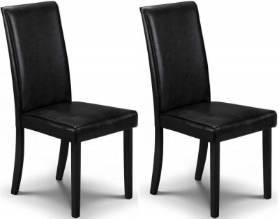 Clearance - Julian Bowen Hudson Black Faux Leather Dining Chair (Pair) - New - E-112
