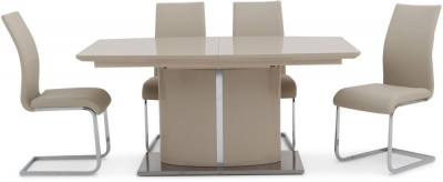 Clearance - Flavio Cream High Gloss Butterfly Extending Dining Table and 6 Paolo Cream Chairs - New - FS1010