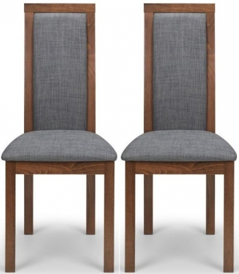 Clearance - Julian Bowen Melrose Walnut and Grey Fabric Dining Chair (Pair) - New - FS994