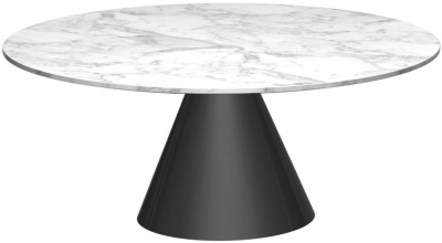 Clearance - Maida White Marble Small Round Coffee Table with Black Conical Base - New - FS1070