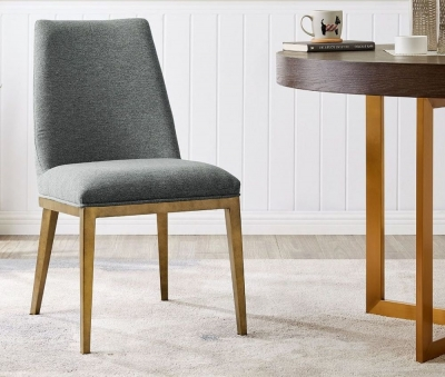 Clearance - Penrith Brass and Grey Linen Fabric Dining Chair (Pair) - New - E-35