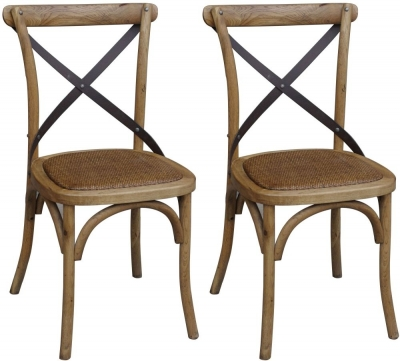 Clearance - Renton Industrial Oak Cross Back Dining Chair (Pair) - New - E-99