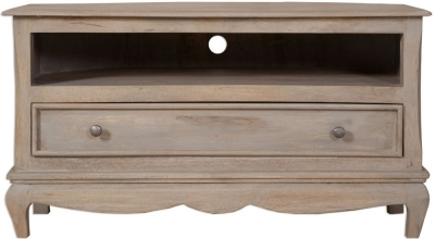 Clearance - Calais Grey Washed Corner TV Cabinet - New - E-834