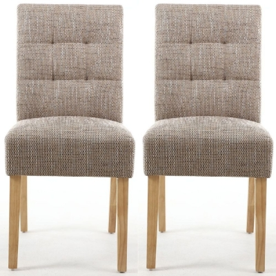 Clearance - Shankar Moseley Tweed Oatmeal Stitched Back Fabric Accent Dining Chair with Natural Legs (Pair) - New - E-815