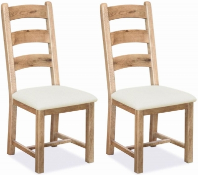 Corndell Fairford Light Oiled Oak Dining Chair with Fabric Seat (Pair) - CL-613