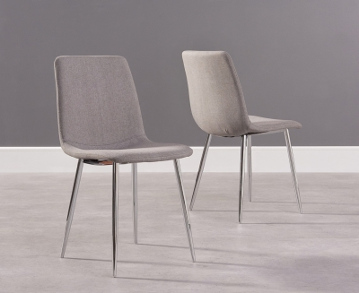 Ellisa Grey Fabric Dining Chair with Chrome Legs (Pair) - CL-W84