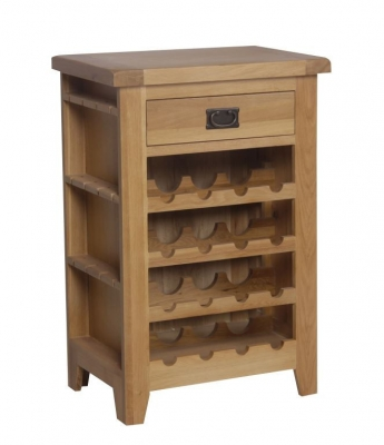 One Home Roland Rustic Solid Oak Wine Cabinet - CL-2070