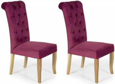 Serene Chiswick Raspberry Fabric Dining Chair (Pair) - CL-W90