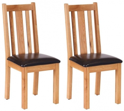 Vancouver Petite Oak Vertical Slats Dining Chair with Chocolate Leather Seat (Pair) - CL-610