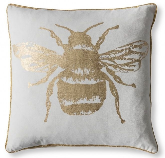 Clearance - Gallery Direct Metallic Bee Cushion (Set of 2) - Gold 45cm x 45cm - New - FS0034