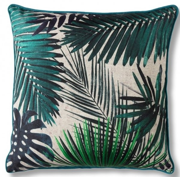 Clearance - Gallery Direct Palm Leaves Cushion (Set of 2) - 45cm x 45cm - New - FS0033