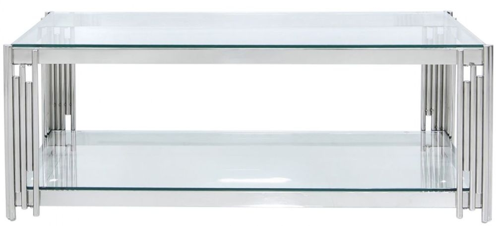 Clearance - Grambling Coffee Table - Glass and Chrome - New - FS0051