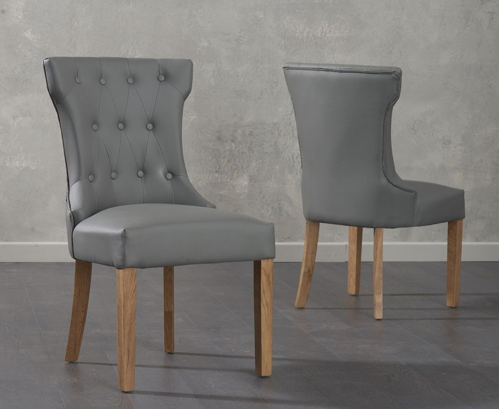 Clearance - Mark Harris Courtney Grey Faux Leather Dining Chair (Pair) - New - FS0059
