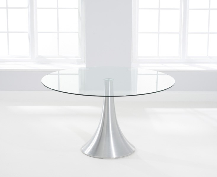 Clearance Half Price - Mark Harris Petra Round Dining Table - Glass and Chrome - New - FS0011