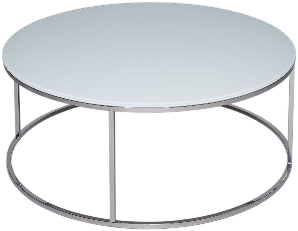 Clearance - Westminster White Glass Round Coffee Table with Polished Steel Base - New - FS0027