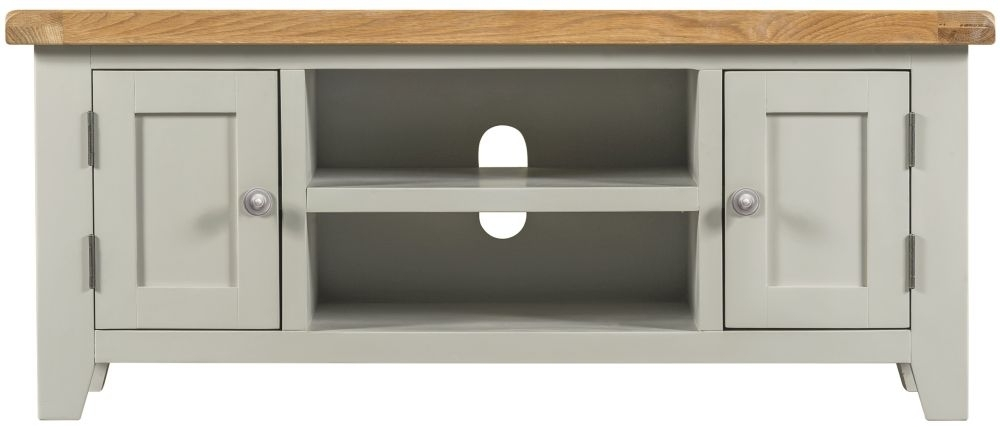 Clearance Half Price - Lundy Oak and Grey Painted 2 Door Large TV Unit - New - 409