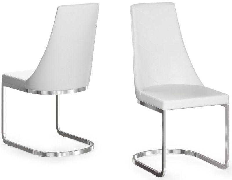 Clearance Half Price - Mia White Faux Leather Dining Chair (Pair) - New - 406
