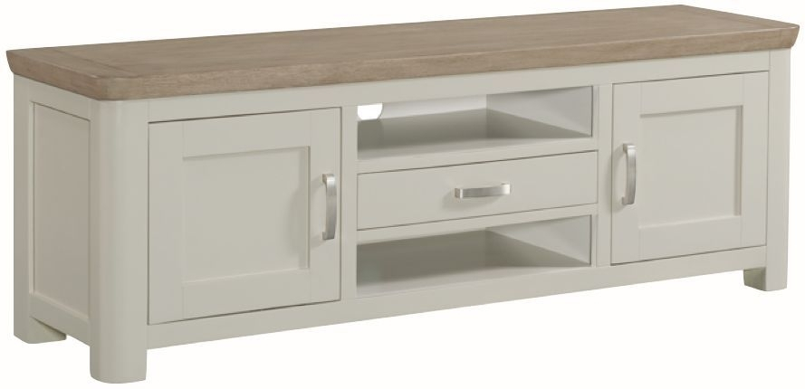 Clearance Half Price - Treviso Wide TV Unit - Oak and Painted - New - 444