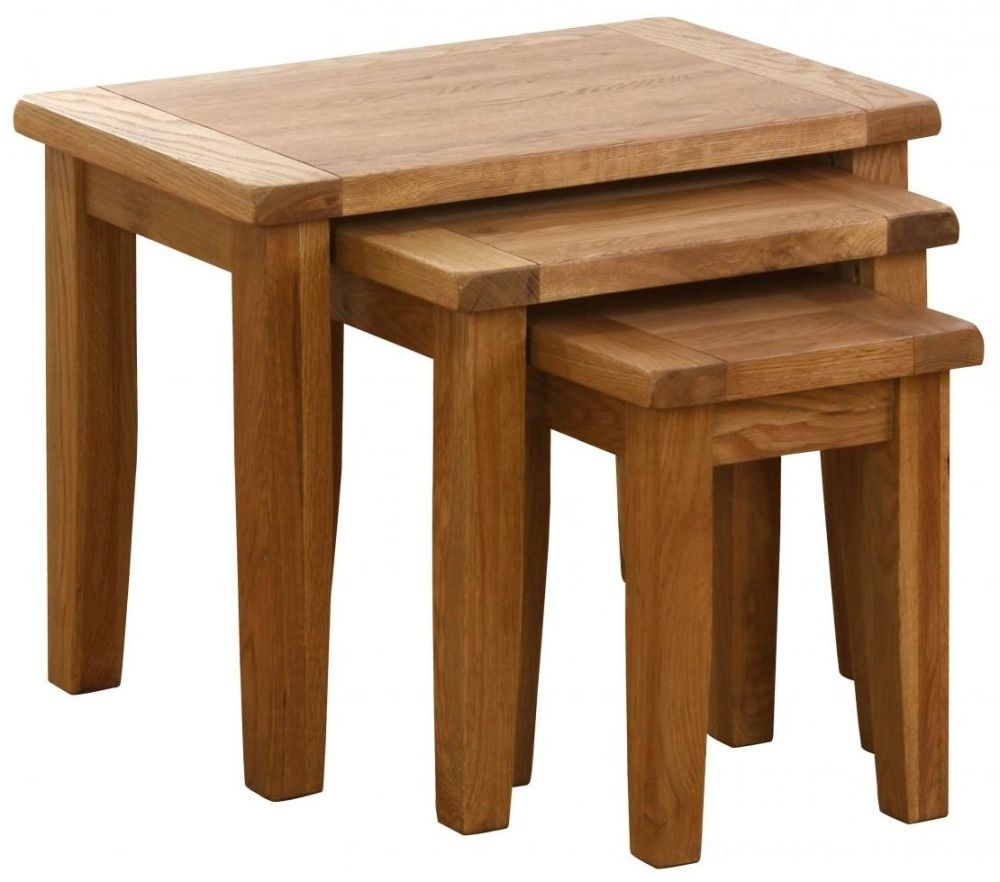 Clearance Half Price - Vancouver Petite Oak Nest of Tables - New - 405