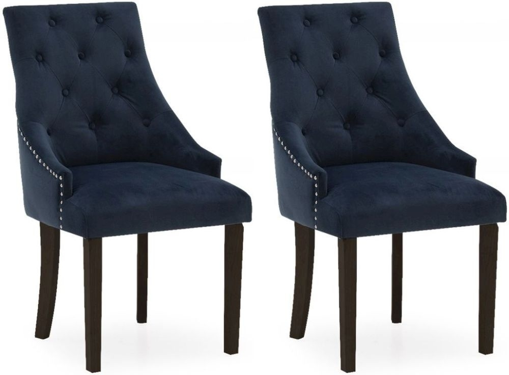 Clearance Half Price - Vida Living Hobbs Midnight Velvet Wenge Leg Dining Chair (Pair) - New - 477
