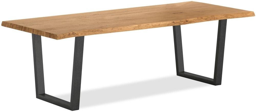 Clearance Half Price - Corndell Oak Mill Dining Table - Waxed Oak and Metal - New - W555