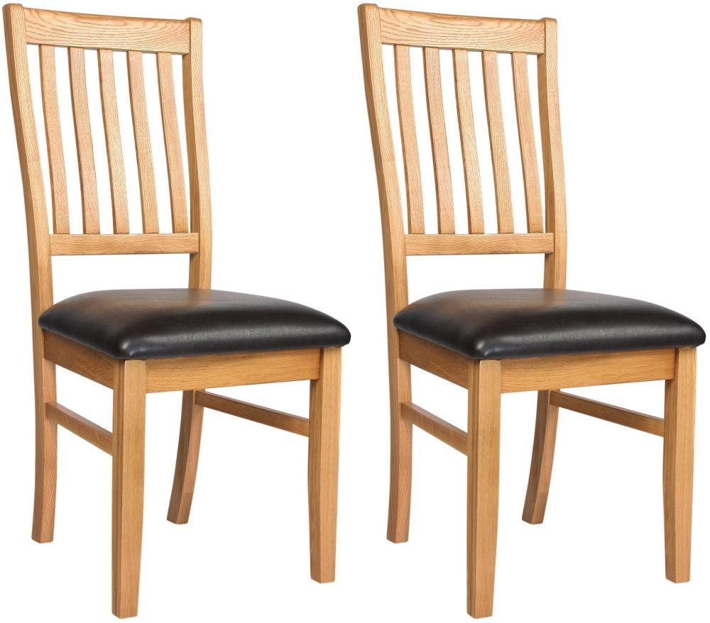 Clearance Half Price - Ametis Croft Oak Dining Chair (Pair) - New - 1079
