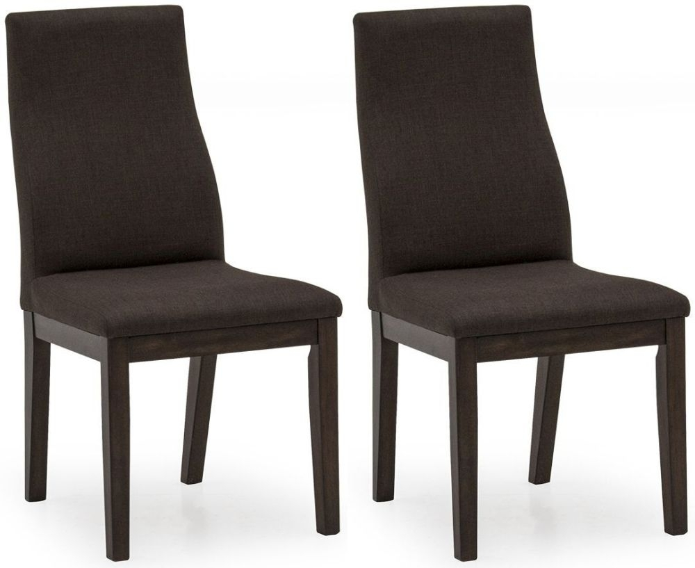 Clearance Half Price - Vida Living Gratiano Walnut Fabric Dining Chair (Pair) - New - 1056