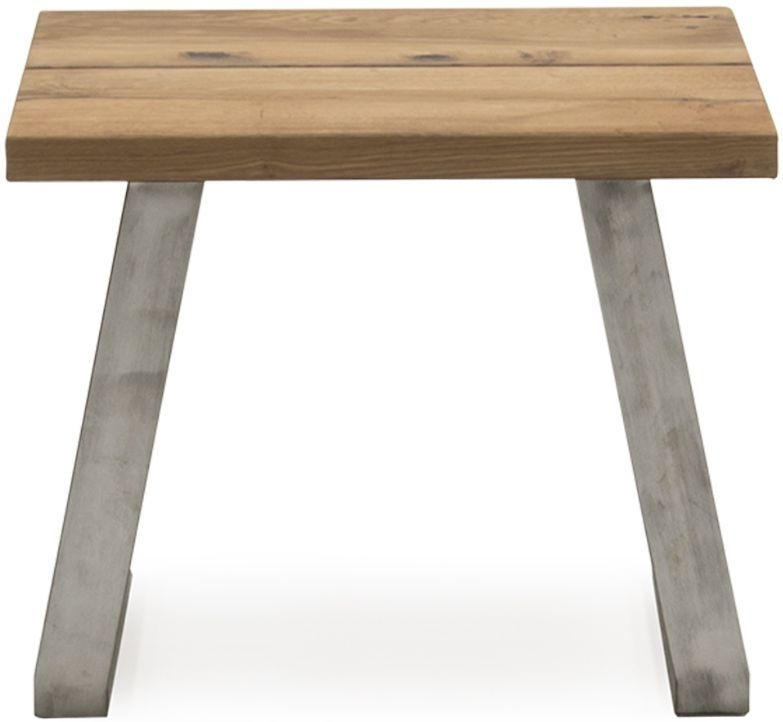 Clearance Half Price - Vida Living Trier Lamp Table - Oak and Chrome - New - 1060