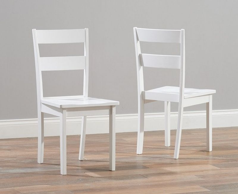 Clearance Half Price - Mark Harris Chichester White Dining Chair (Pair) - New - 1274