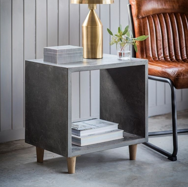 Clearance Half Price - Hudson Living Bergen Cube Lamp Table - New - FS181