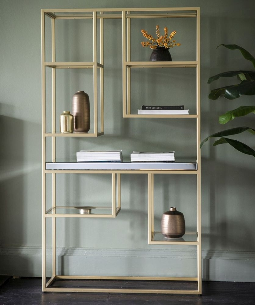 Clearance Half Price - Gallery Direct Pippard Champagne Open Display Unit - New - FS227