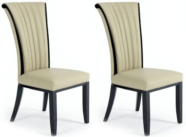 Clearance Half Price - Mark Harris Almeria Cream Bonded Leather Dining Chair (Pair) - New - FS256