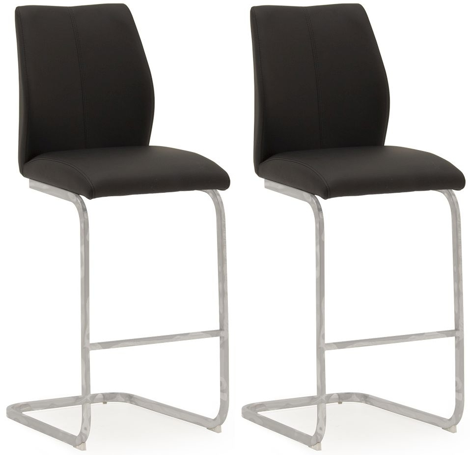 Clearance Half Price - Vida Living Elis Black Faux Leather Bar Chair (Pair) - New - FS251