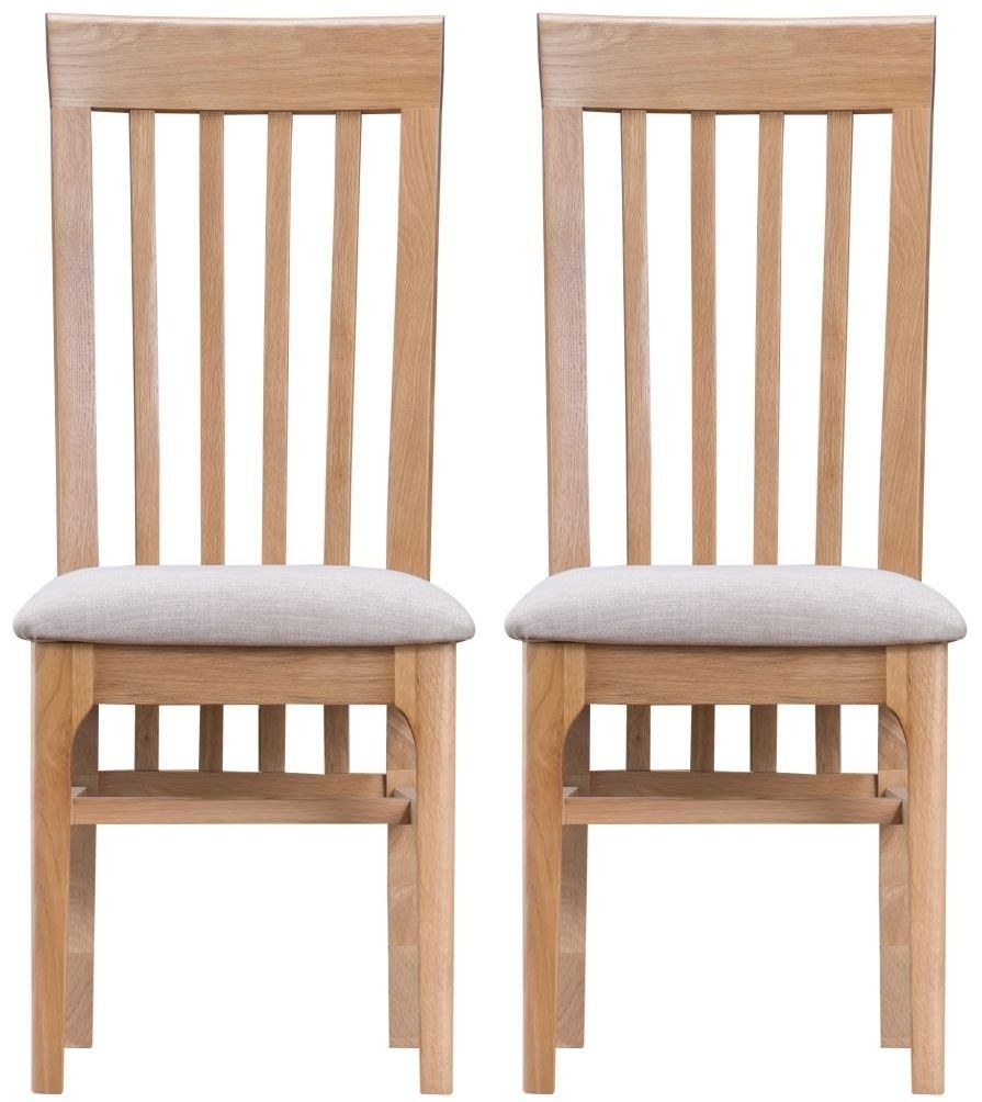 Clearance Half Price - Appleby Oak Fabric Seat Dining Chair (Pair) - New - 1223