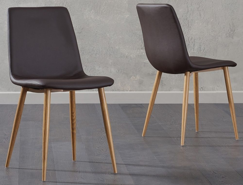 Clearance Half Price - Mark Harris Hatfield Brown Faux Leather Dining Chair with Wooden Legs - New - 1215