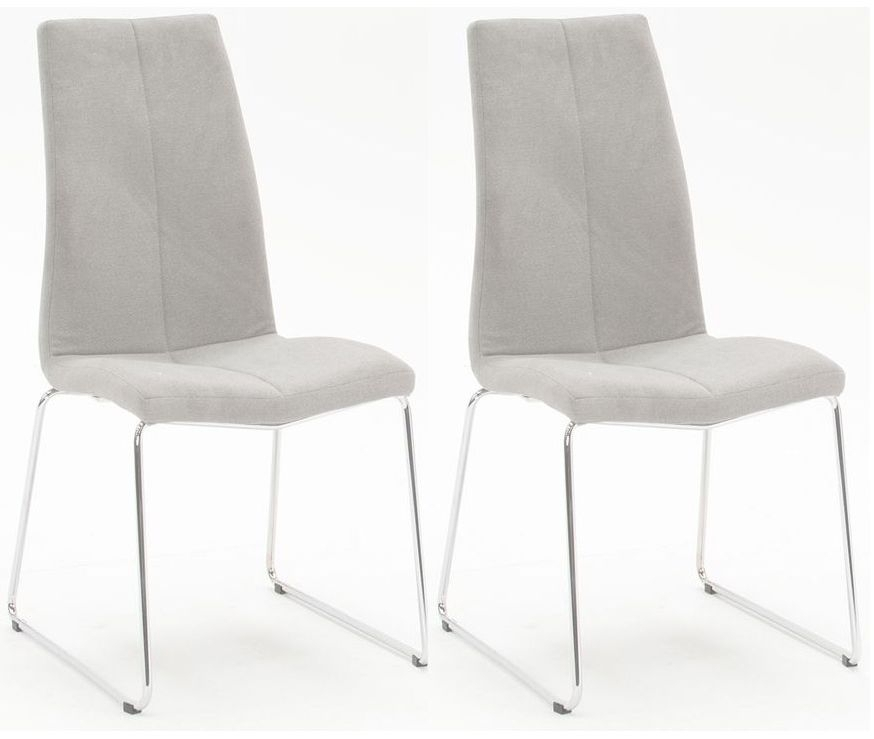 Clearance Half Price - Vida Living Evoque Grey Fabric Dining Chair (Pair) - New - 1286