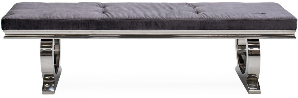 Clearance Half Price - Vida Living Arianna Charcoal Velvet and Stainless Steel Chrome Dining Bench - New - 1246